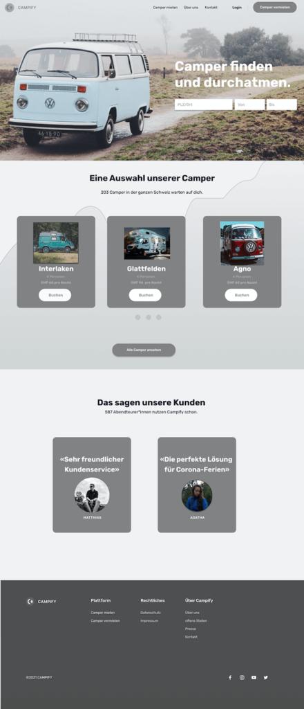 Mock-up der Startseite für Campify